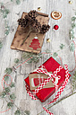 Christmas decoration and wrapped presents on wood - SARF02958