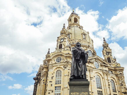 Germany, Dresden, Dresden Frauenkirche and statue of Martin Luther in the foreground - KRPF01847