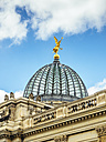Germany, Dresden, golden angle on cupola of the University of Visual Arts - KRPF01850