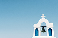 Greece, Cyclades, Santorini, Oia, bell tower of a church - GEMF01093
