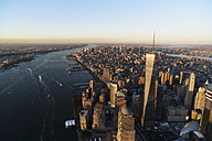 USA, New York, New York City, cityscape with World Trade Center and Hudson River - BCDF00185