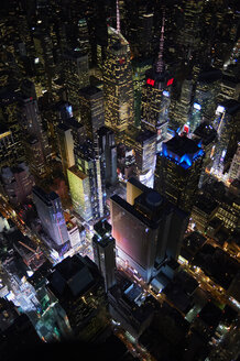 USA, New York, New York City, Aerial view of Times Square at night - BCD00212