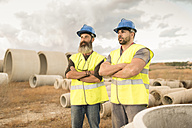 Two workers posing outdoors - JASF01206