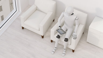 Robot sitting on armchair with tablet, 3D Rendering - AHUF00251