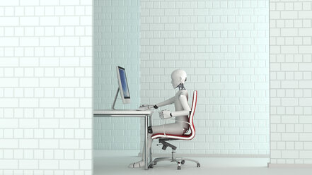Robot working at desk, 3D Rendering - AHUF00254