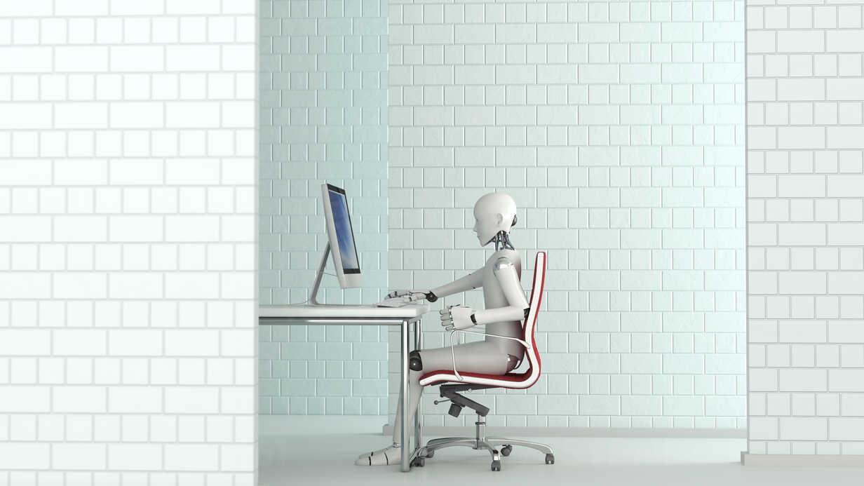 Robot working at desk, 3D Rendering - AHUF00254 - Anna Huber/Westend61