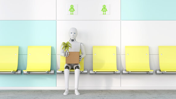Robot with cardboard box and potted plant sitting on a seat, 3D Rendering - AHUF00257