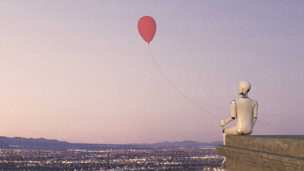 Back view of robot sitting on edge of a roof with a balloon, 3D Rendering - AHUF00260 - Anna Huber/Westend61