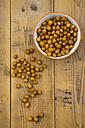 Bowl of roasted chickpeas on wood - LVF05396