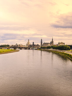 Germany, Saxony, Dresden, historic old town with Elbe River in the foreground - KRPF01883
