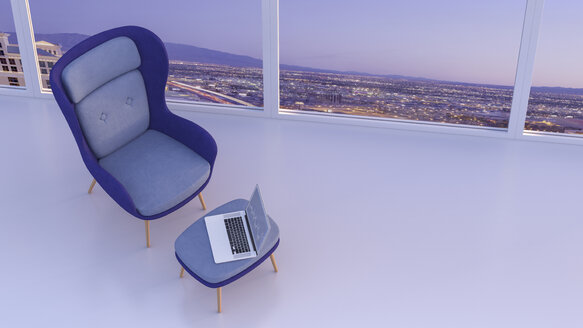 Retro style arm chair and laptop on stool at window with a view - AHUF00266