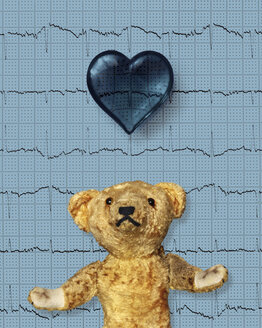 Teddy bear with a blue heart and electrocardiogram - HSTF00042