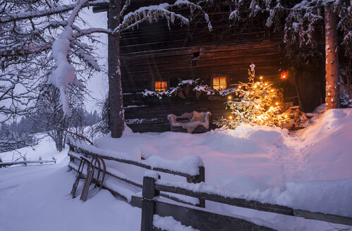 Wooden house with Christmas tree in winter landscape - HHF05423
