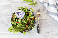 Bowl of wild-herb salad with edible flowers, cranberries and wolfberries - SARF03003