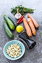 Spiral vegetable slicer and ingredients of vegetable noodle salad - SARF03008