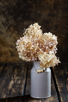 Dried hydrangea bouquet in milk churn as vase - CSF27710
