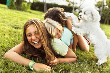 Three girls having fun with a puppy on a meadow - MGOF02537
