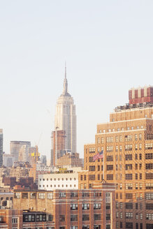 USA, New York City, Meatpacking District with Empire State Building in the background - BMAF00248