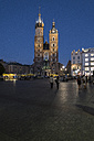 Poland, Krakow, view to St. Mary's Church at blue hour - MEL00159