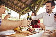 Friends socializing at outdoor table with red wine and cold snack - ZEDF00379