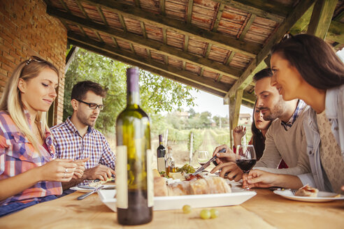 Friends socializing at outdoor table with red wine and cold snack - ZEDF00409