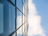 Germany, Duesseldorf, part of glass facade of modern office building - KRPF01899