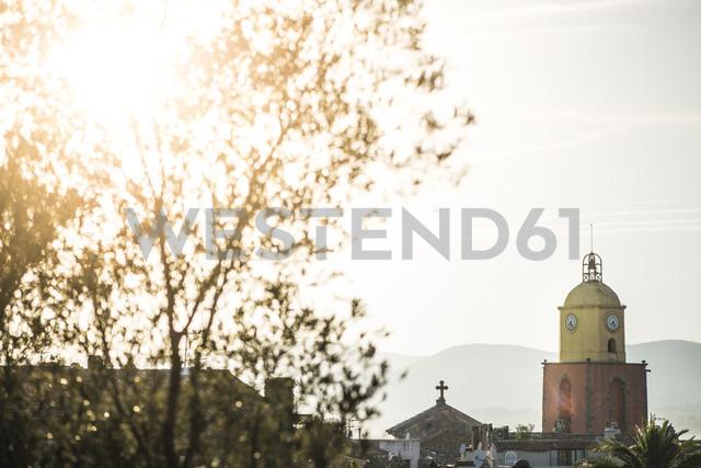 France, Saint-Tropez, clock tower in backlight - DEGF00913