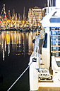 France, Cannes, marina with boats at night - DEGF00919
