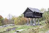 Sweden, Stockholm, historic log cabin on piles in Skansen - ABZ01441