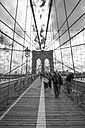 USA, New York City, pedestrians on Brooklyn Bridge - ZEF11105