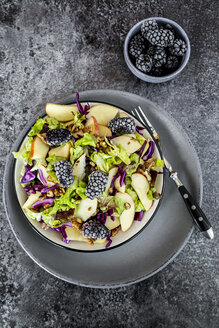 Bowl of salad with lettuce, red cabbage, blackberries, apple and walnuts - SARF03030