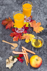 Two glasses of pumpkin smoothie and ingredients - SARF03033
