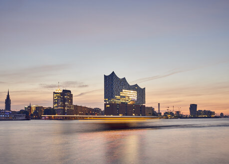 Germany, Hamburg,view to Elbe Philharmonic Hall at morning twilight - WHF00054