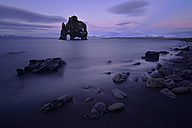 Iceland, ocean with rock formation in Northern Iceland at twilight - FDF00213