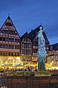 Germany, Hesse, Frankfurt, Romerberg with Fountain of Justice at night - GF00870