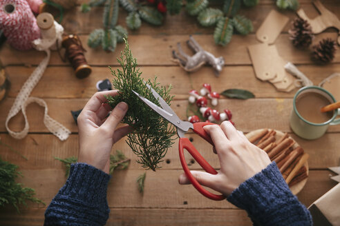 Woman's hands cutting twig for decorating Christmas present - RTBF00495
