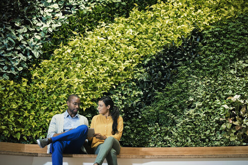 Businessman and woman sitting in front of green plant wall, using digital tablet - WESTF21898