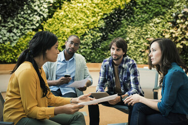 Young business people discussing in front of green plant wall - WESTF21913