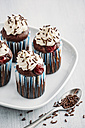 Four Black Forest Cake Muffins on plate - IPF00338