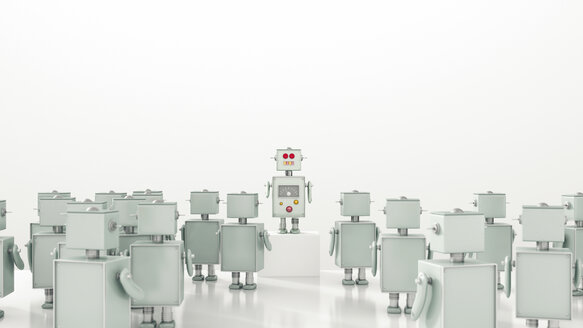 Group of robots looking at leader, 3d rendering - UWF01061