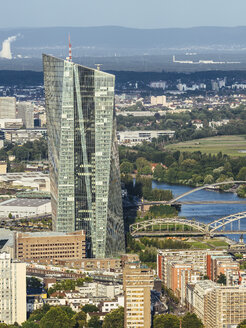 Germany, Frankfurt, view to European Central Bank and Main River from Main Tower - KRPF01956