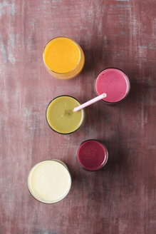 Five glasses of different smoothies - MYF01828