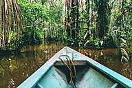 Peru, Tambopata, Boat on Amazon river - GEMF01214