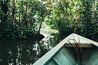 Peru, Tambopata, Boat on Amazon river - GEMF01217