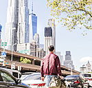 USA, New York City, back view of man in Manhattan - UUF09150