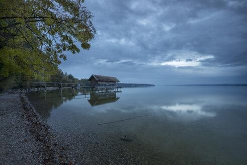 Germany, Bavaria, Nightfall at lake Ammersee - MBOF00036
