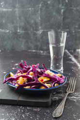 Winter salad with red cabbage, tangerine and chick-peas - MYF01839