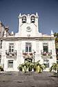 Portugal, Cascais, white house with bell tower - CHPF00314