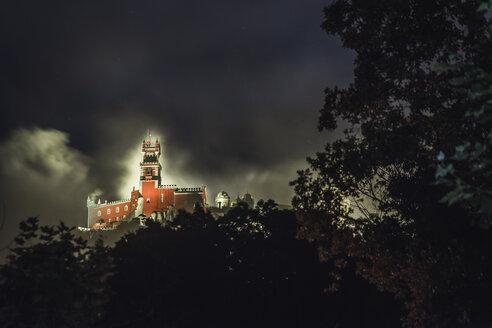 Portugal, Sintra, illuminated Pena National Palace by night - CHP00320