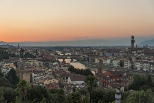 Italy, Florence, cityscape in the evening - PAF01735